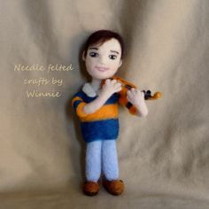 Needle felted doll Isaac the violinist by FunFeltByWinnie on Etsy, $88.00