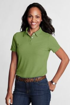Women's Short Sleeve Textured Horizontal Polo Shirt from Lands' End