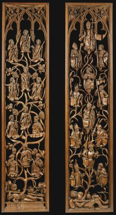 North West German, circa 1510-1520 SET OF FOUR SCREENS FROM THE SIDES OF CHOIR STALLS, REPRESENTING THE TREE OF JESSE, SCENES FROM THE LIFE OF CHRIST, CHRIST AND THE APOSTLES, AND THE ORDINATION OF A BISHOP oak each 234 by 54 by 9cm., 92 1/8 by 21¼ by 3¾in. Estimate 200,000 — 300,000 GBP