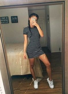 Help me find a similar black and white pin striped bodycon t-shirt dress as Kylie Jenner's