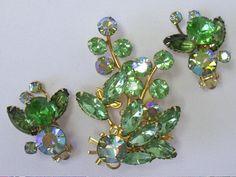 Vintage BEAU JEWELS Green Rhinestone Brooch by YourVintageDesires, $46.00