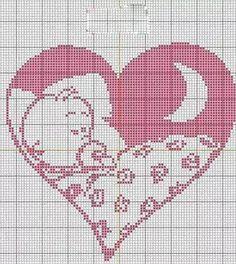 Sleeping baby in heart Crochet Pony, Poney Crochet, Cross Stitching, Cross Stitch Embroidery, Embroidery Patterns, Knitting Patterns, Crochet Diagram, Crochet Chart, Cross Stitch Designs