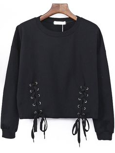 Black Round Neck Lace Up Sweatshirt, Free&Fast Shipping
