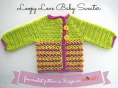 15 Free Baby Sweater Crochet Patterns: Loopy Love Baby Sweater Free Crochet Pattern