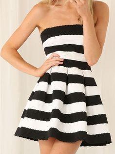 Back Stripe Bandage Skater Dress