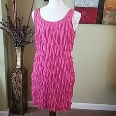 WORK IT GIRL PINK RUFFLED DRESS Layers of ruffles hot pink dress with a beige under slip size medium. Sunny Leigh Dresses