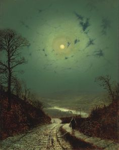 "Moonlight, Wharfedale (1871) John Atkinson GRIMSHAW (1836 – 1893) was a Victorian-era artist, a ""remarkable and imaginative painter"" known for his city night-scenes and landscapes. Description from pinterest.com. I searched for this on bing.com/images"