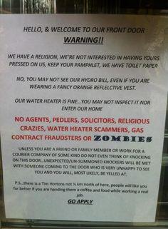 Funny Sarcastic No Solicitors Sign