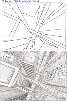 How to Draw - Tutorial: Perspective for Comic / Manga Panel Design Reference Drawing Techniques, Drawing Tips, Drawing Sketches, Sketching, City Drawing, Basic Drawing, 3d Drawings, Art Tutorials, Drawing Tutorials