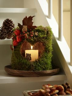 DIY-Tipp: Herbstliches Windlicht mit Moos Now it is getting really cozy! With this beautiful lantern with moss and all sorts of autumnal gifts of nature draws the All Things Christmas, Christmas Wreaths, Christmas Crafts, Christmas Decorations, Advent Candles, Diy Candles, Dining Room Art, Navidad Diy, Christmas Lanterns