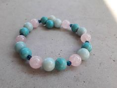 Items similar to The Ocean bracelet on Etsy Unique Bracelets, Beaded Bracelets, Gemstone Beads, Rose Quartz, Ocean, Turquoise, Gemstones, Check, Etsy