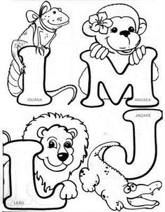 Colouring Pics, Coloring For Kids, Coloring Books, Coloring Pages, Coloring Sheets, Embroidery Alphabet, Embroidery Patterns Free, Hand Embroidery Designs, Alfabeto Animal