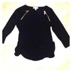 🎉HP Best in Tops🎉NWT Michael Kors Black Top NWT! Black top with side ruching and gold zipper details. 3/4 length sleeves. 95% cotton, 5% elastine. This top is stretchy. MICHAEL Michael Kors Tops Blouses