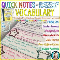 Greek and Latin Roots Quick Notes: VOCABULARY (Anchor Charts for Interactive Notebooks) Quick Notes for Interactive Notebooks are simply 2D pages that match the information from each lesson in the Interactive Vocabulary Notebooks. They come in 3 versions: 2D student-filled templates, 2D pre-filled templates, and digital interactive notebook templates.