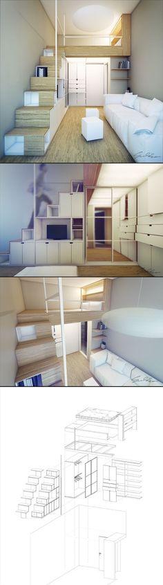 Mezzanine pour chambre côté rue. Rangement sous/dans escalier. Facile d'y intégrer bureau si besoin pour plus tard.