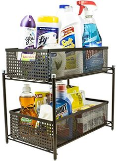 Sorbus 2 Tier Steel Baskets with Mesh Sliding Drawers  Bronze >>> Find out more about the great product at the image link.-It is an affiliate link to Amazon. #KitchenUtensils