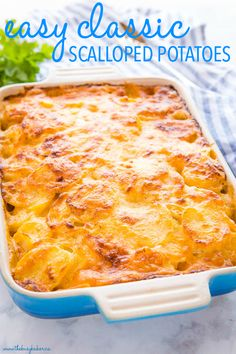 These Easy Classic Scalloped Potatoes are the perfect simple from-scratch potato side dish for Easter! Sliced potatoes and onions baked to perfection in an easy homemade cheese sauce! Potato Sides, Potato Side Dishes, Ree Drummond, Paula Deen, Cheesy Scalloped Potatoes Recipe, Cheesy Potatoes, Potatoes Crockpot, Homemade Cheese Sauce, Easter Side Dishes