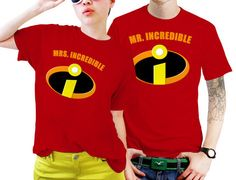 Mrs. and Mr Incredible Superhero Couples Matching Shirts, Couples T Shirts, Funny Couple Shirts  https://www.artbetinas.com/products/mrs-and-mr-incredible-superhero-couples-matching-shirts-couples-t-shirts-funny-couple-shirts