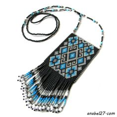 -Украшения от Anabel-: Кулон в этническом стиле - серый / белый / голубой...