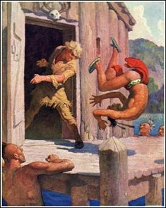 """Door Flew Open - by NC Wyeth, for """"Deerslayer"""" by James Fenimore Cooper. Published by Scribner's, 1925"""