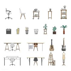 architektur diagramme Collection of illustrated items Coupes Architecture, Collage Architecture, Architecture Drawings, Architecture Design, Autocad, Art Antique, People Illustration, Home Decor Furniture, Steel Furniture