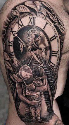 Time Hand Tattoos for Men . Time Hand Tattoos for Men . Hand Tattoos, Tattoos Arm Mann, Forarm Tattoos, Best Sleeve Tattoos, Tattoo Sleeve Designs, Tattoo Designs Men, Body Art Tattoos, Clock Tattoos, Family Tattoo Designs