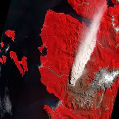 A false-colour image captured by the Advanced Spaceborne Thermal Emission and Reflection Radiometer (ASTER) on NASA's Terra satellite of a large plume of ash and steam rising from the Chaiten volcano after a partial dome collapse in Chile. Vegetation is red, bare or ash-covered ground is brown and water is black.