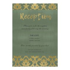 CLASSIC GOLD GREY DAMASK FLORAL PATTERN RECEPTION CARD - lace wedding ideas marriage diy cyo customize special