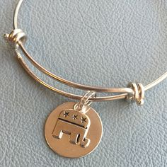 Silver Republican Party Bracelet Inspired by Alex & Anim Fast Shipping-Inexpensive, GOP Elephant Mascot, Red State Love by Arrimage on Etsy