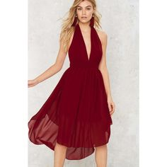 Nasty Gal Go With the Low Plunging Dress (1,360 MXN) ❤ liked on Polyvore featuring dresses, red, red chiffon dress, nasty gal, burgundy dress, red zipper dress and burgundy red dress