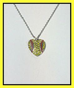 Heart Shaped Softball with Rhinestones  handmade jewelry, pendant