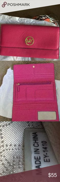 MK hot pink wallet. EUC MK WALLET. No stains or marks on this beauty. Hot pink color. Date code shown in pictures.  Would be a perfect match to the hot pink purse I have listed as well. They are same color. Michael Kors Bags Wallets