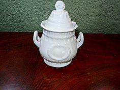 White Ironstone Sugar Bowl, Laurel Wreath, C 1867