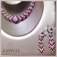 Diamond Necklaces : Stunning Burmese ruby and diamond set from Amwaj Jewellery. - Buy Me Diamond Ruby And Diamond Necklace, Ruby Necklace, Ruby Jewelry, Diamond Jewelry, Wedding Jewelry, Jewelry Sets, Fine Jewelry, Jewelry Necklaces, Bracelets