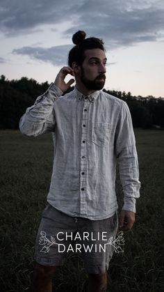 """In our gender-neutral collection, the LICHEN BUTTON shirt is as contradictory and complex as the nature-culture complex; All at once, it is a work shirt and representation of western professional """"culture"""", yet it is made out of earthen materials (linen flax and wooden buttons), as relaxed and as cozy as a humble birds nest. Sewn with soft textured linen • Handcrafted in Providence, RI, USA Ethical Fashion Brands, Ethical Clothing, Vegan Fashion, Slow Fashion, Sustainable Clothing, Sustainable Fashion, Fashion Articles, Vegan Shoes, Fashion Group"""