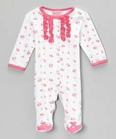 Take a look at this White & Pink Floral Ruffle Footie - Infant by Carter's Watch the Wear on #zulily today!