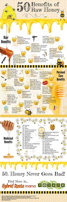 of Raw Honey 50 Benefits of Raw Honey Infographic - Find out what all the hype is about raw honey. Plus a source to get it for pretty cheap! Benefits of Raw Honey Infographic - Find out what all the hype is about raw. Natural Cures, Natural Healing, Natural Treatments, Natural Honey, Natural Oil, Natural Beauty, Natural Foods, Organic Raw Honey, Natural Health Remedies