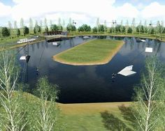 Aerial view of a wake park