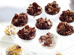 Desert Roses from Baking Chez Moi, Dorie Greenspan -- dried fruit, nuts, coconut, and cornflakes suspended in butter-enriched chocolate.