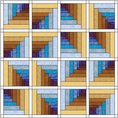 Digital image of the log cabin tunnels quilt