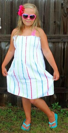 Beach Towel Dress Tutorial | Your girls will be the coolest kids at the pool with this free sewing tutorial!