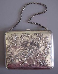 """STERLING purse with repousse violets motif and chain handle, engraved on the back """"DWM"""""""