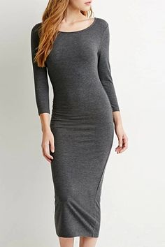 Solid Color Slimming Long Sleeve Dress DEEP GRAY: Long Sleeve Dresses | ZAFUL