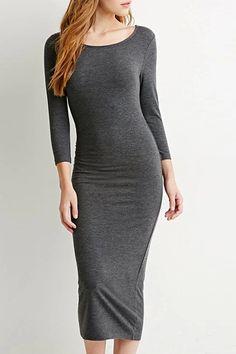Solid Color Slimming Long Sleeve Dress DEEP GRAY: Long Sleeve Dresses | ZAFUL