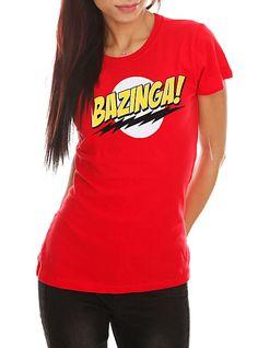 """The Big Bang Theory """"BAZINGA!"""" red cotton T-shirt"""