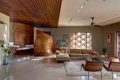 Hive by Openideas Architects Amazing Architecture, Contemporary Architecture, Thermal Comfort, India Design, Examples Of Art, House Extensions, Facade Design, Living Area, Living Room