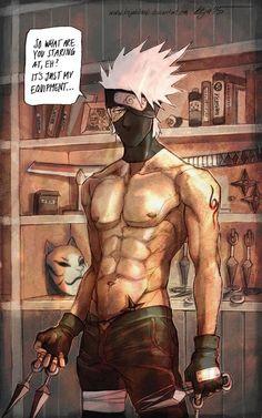 Kakashi - by KejaBlank, DeviantArt. This sensei is definitely a lady killer! I looove pictures like this of Kakashi-sensei! Naruto Kakashi, Anime Naruto, Gaara, Manga Anime, Naruto Art, Kakashi Memes, Anime Guys Shirtless, Hot Anime Guys, Anime Cosplay