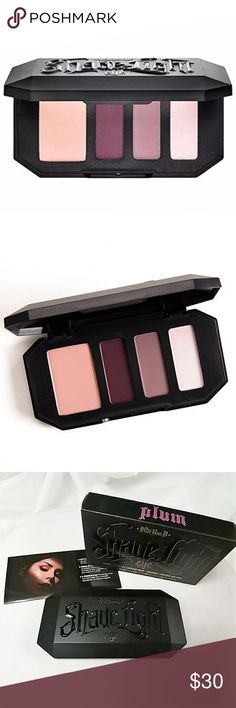 Kat Von D Shade + Light Eye Contour Quad in Plum Brand new in Box BNIB Kat Von D Shade + Light Eye Contour Quad in Plum. This artistically curated palette with all-matte shades has been created using Kat's high pigment, silky and blendable eyeshadow formula and is designed to enhance eye shape and color.  High pigment, silky, and blendable matte shades Full size Easy-to-follow how-to insert, illustrated by Kat Von D Photo credit to Kat Von D  ALL my makeup products are Authentic, Brand New…