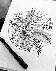 Rose Tattoos, Body Art Tattoos, Sleeve Tattoos, Tatoos, Plant Tattoo, Tattoo Zeichnungen, Botanical Tattoo, Art Drawings Sketches, Pencil Art Drawings