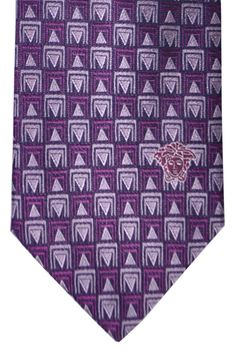 Versace Tie Purple Black Geometric